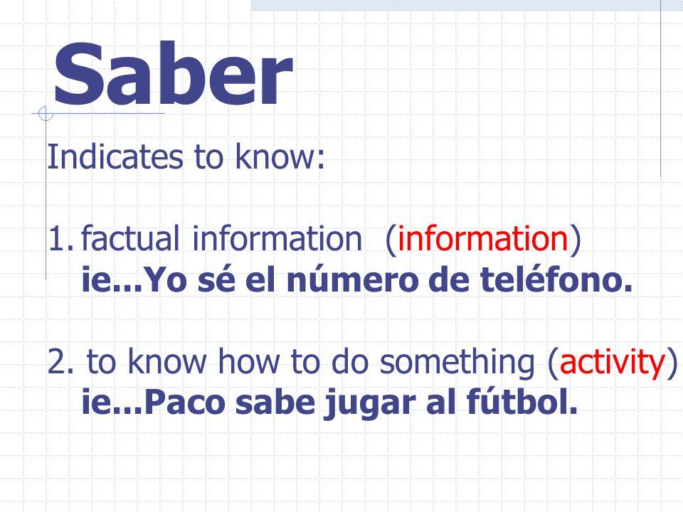 Saber Indicates to know: 1.factual information (information) ie...Yo sé el número de teléfono.