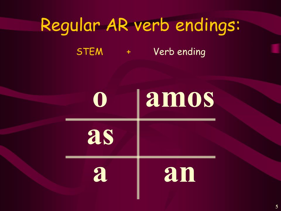 4 2 Steps of conjugating Regular AR verbs: 1.Find the stem (by dropping the last two letters off of the infinitive. 2. Add the appropriate verb ending