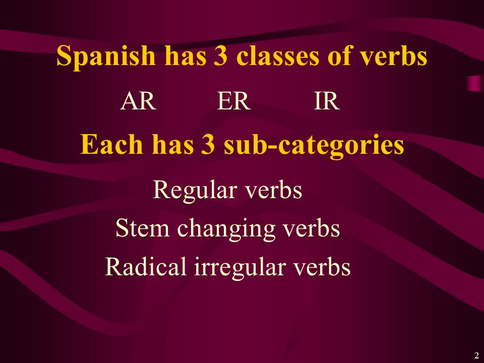 2 ARERIR Spanish has 3 classes of verbs Regular verbs Stem changing verbs Radical irregular verbs Each has 3 sub-categories