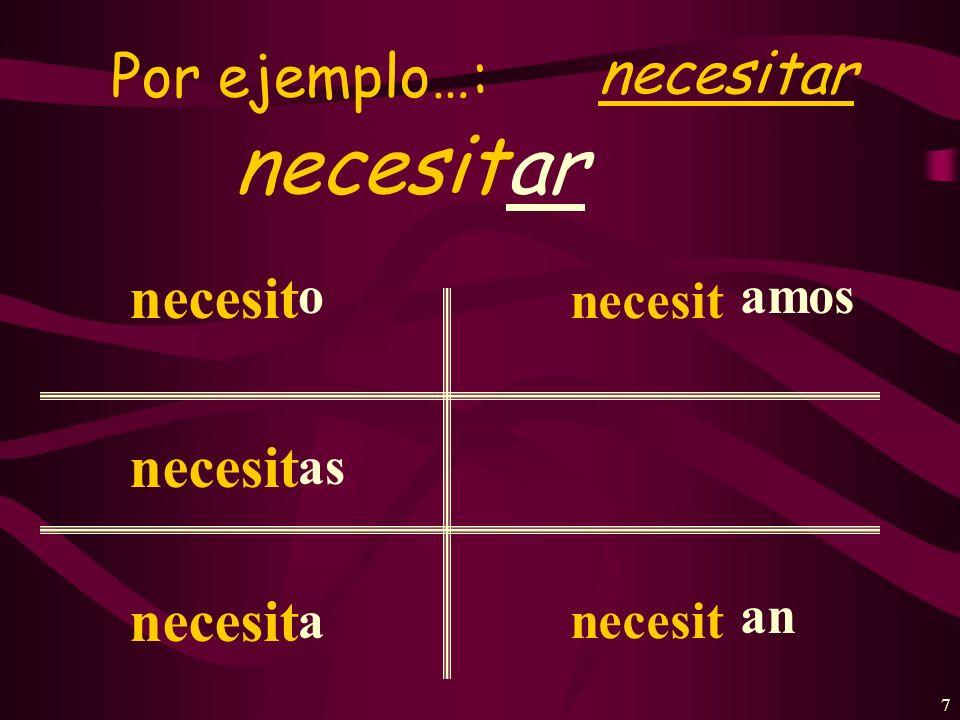 7 Por ejemplo…: necesitar necesitar necesit o as a amos an