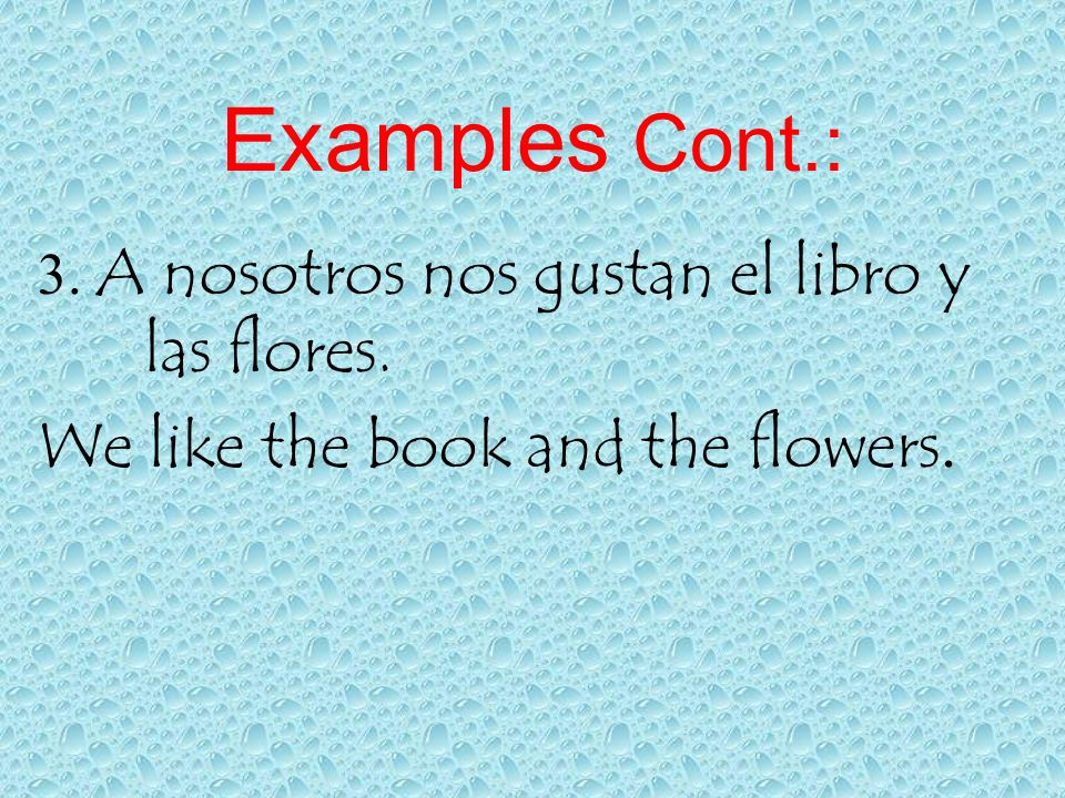 Examples Cont.: 3. A nosotros nos gustan el libro y las flores. We like the book and the flowers.
