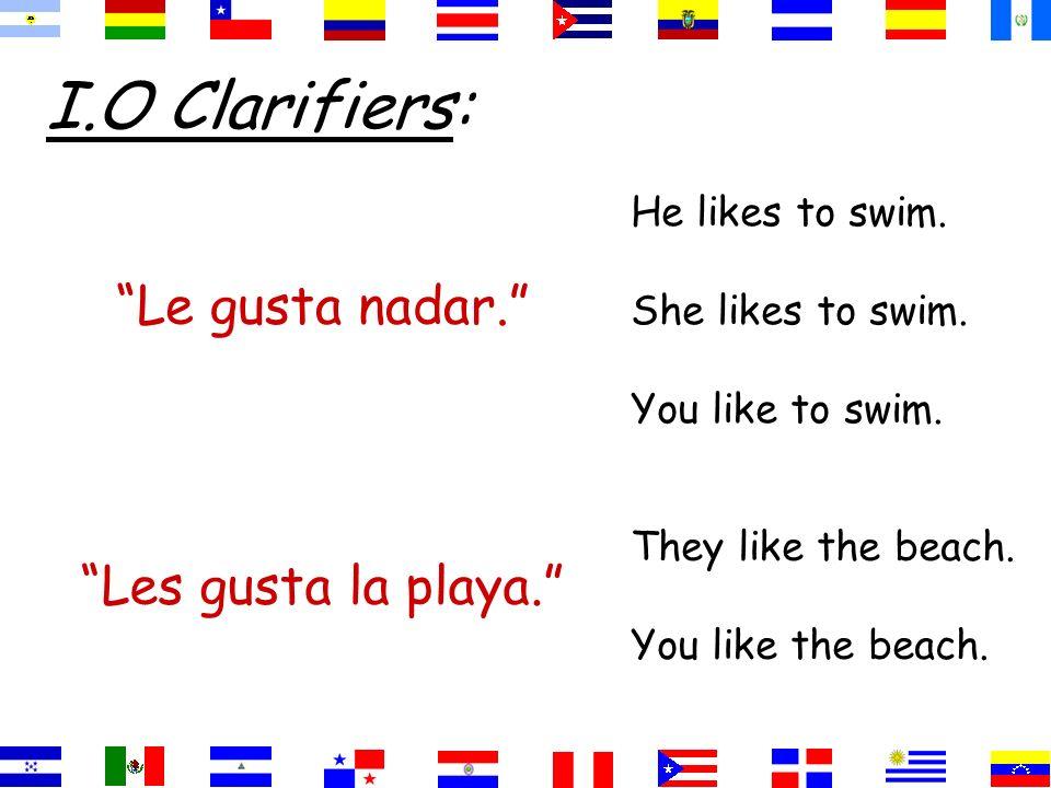 I.O Clarifiers: Le gusta nadar. He likes to swim.