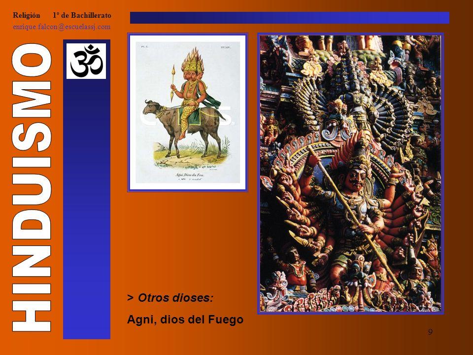 9 Religión 1º de Bachillerato enrique.falcon@escuelassj.com > Otros dioses: Agni, dios del Fuego