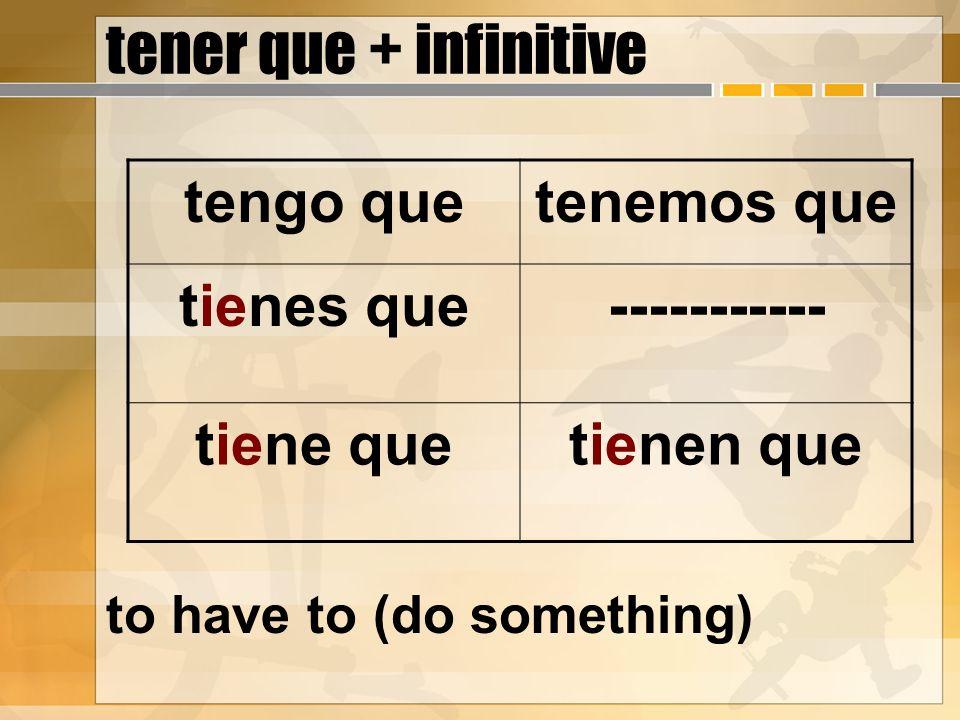 tener que + infinitive to have to (do something) tengo quetenemos que tienes que----------- tiene quetienen que