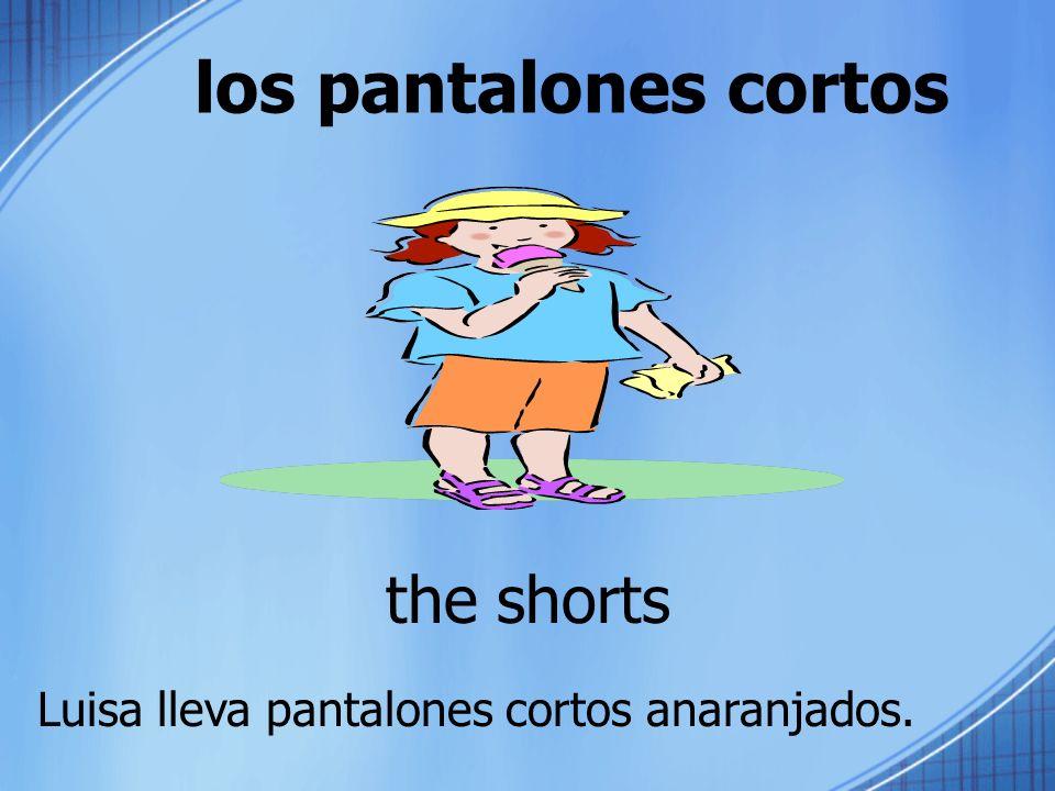 los pantalones cortos the shorts Luisa lleva pantalones cortos anaranjados.