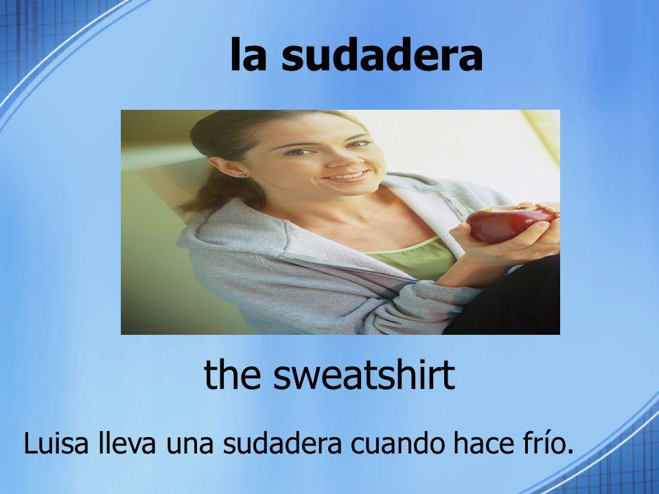 la sudadera the sweatshirt Luisa lleva una sudadera cuando hace frío.