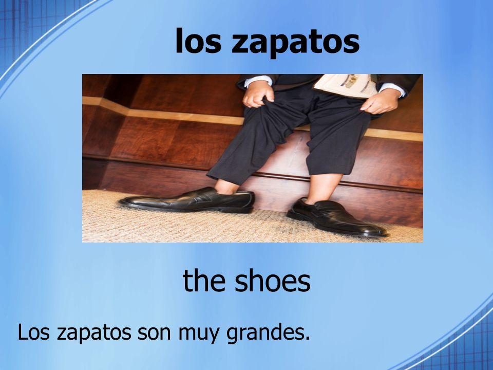 los zapatos the shoes Los zapatos son muy grandes.