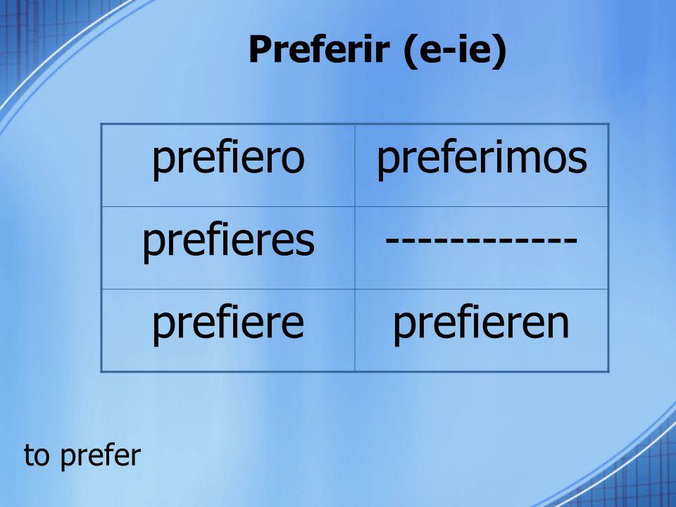 Preferir (e-ie) to prefer prefieropreferimos prefieres------------ prefiereprefieren