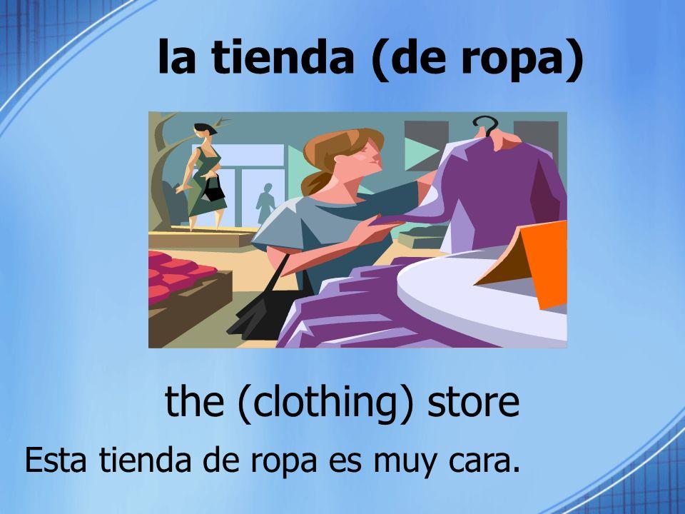 la tienda (de ropa) the (clothing) store Esta tienda de ropa es muy cara.