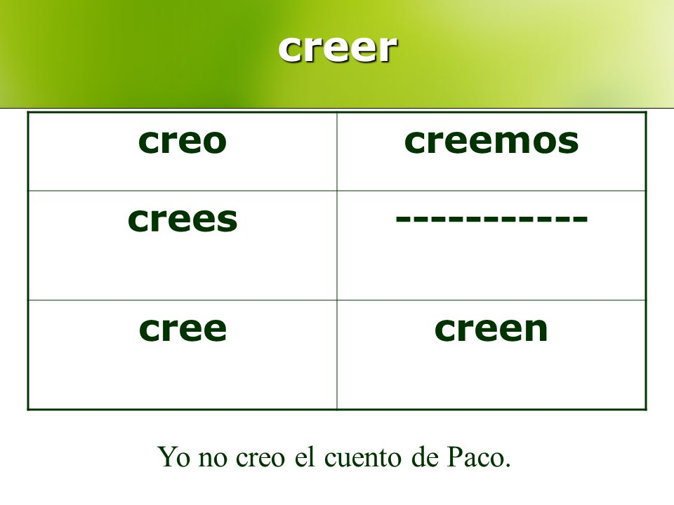 creer Yo no creo el cuento de Paco. creocreemos crees----------- creecreen