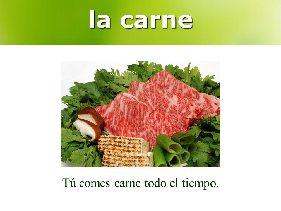 la carne Tú comes carne todo el tiempo.