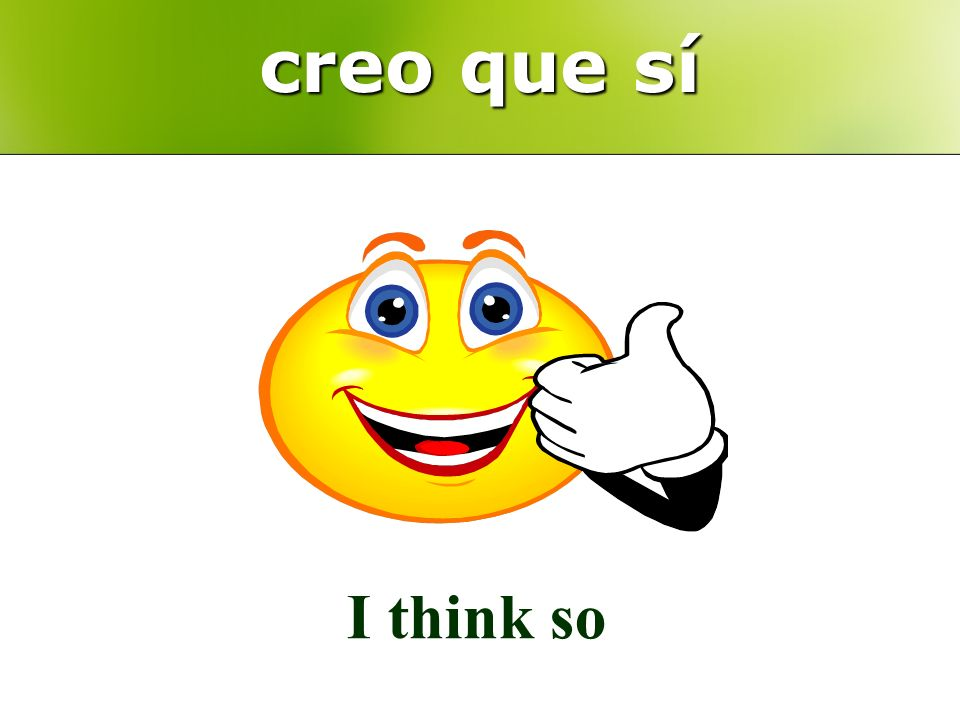 creo que sí I think so