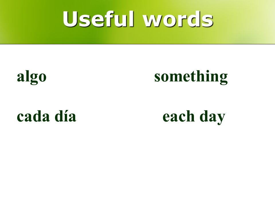 Useful words algosomething cada día each day