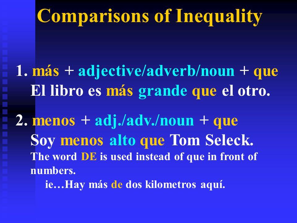 Comparisons of Inequality 1. más + adjective/adverb/noun + que El libro es más grande que el otro.