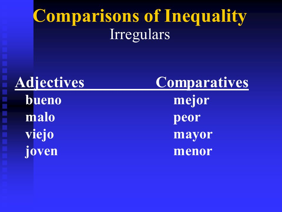 Comparisons of Inequality Irregulars AdjectivesComparatives bueno mejor malo peor viejo mayor joven menor