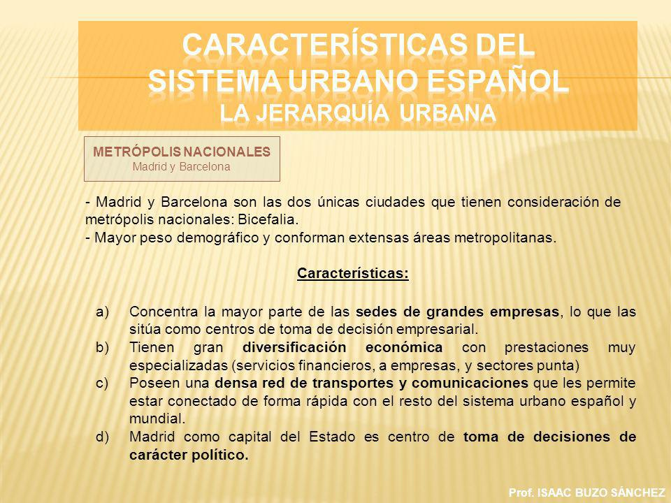 Prof. ISAAC BUZO SÁNCHEZ METRÓPOLIS NACIONALES Madrid y Barcelona - Madrid y Barcelona son las dos únicas ciudades que tienen consideración de metrópo