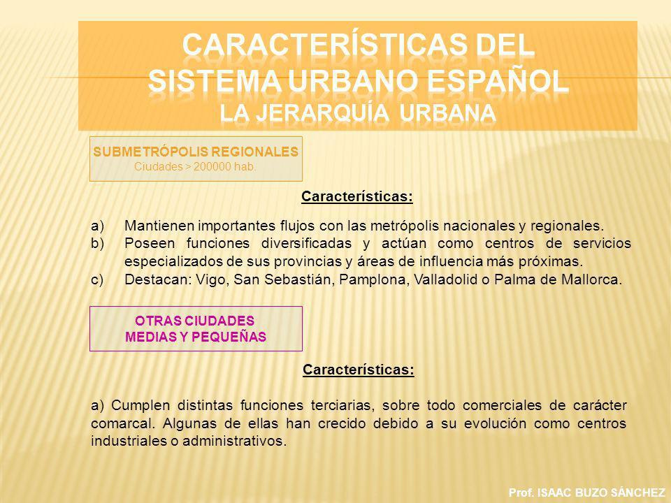 Prof. ISAAC BUZO SÁNCHEZ Características: a)Mantienen importantes flujos con las metrópolis nacionales y regionales. b)Poseen funciones diversificadas