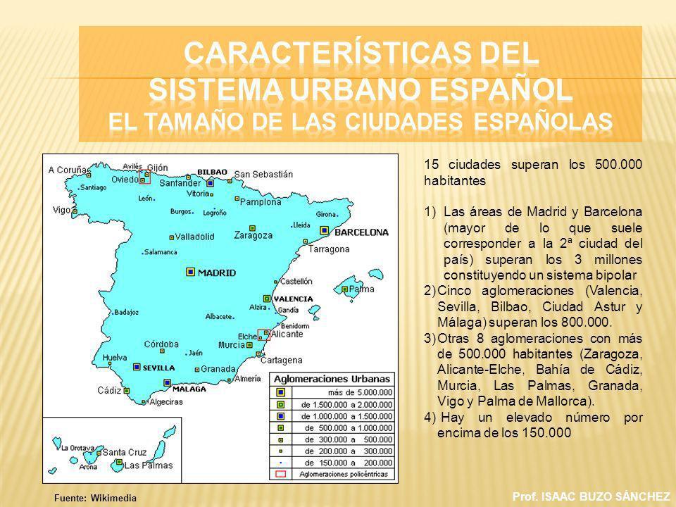Prof. ISAAC BUZO SÁNCHEZ 15 ciudades superan los 500.000 habitantes 1)Las áreas de Madrid y Barcelona (mayor de lo que suele corresponder a la 2ª ciud