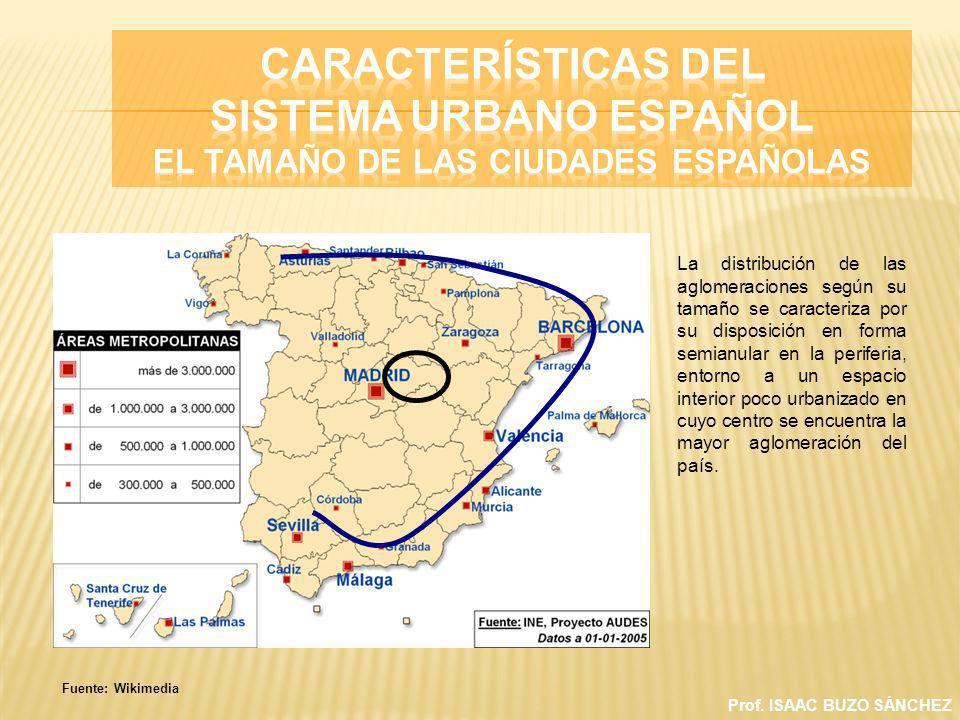 Prof. ISAAC BUZO SÁNCHEZ La distribución de las aglomeraciones según su tamaño se caracteriza por su disposición en forma semianular en la periferia,