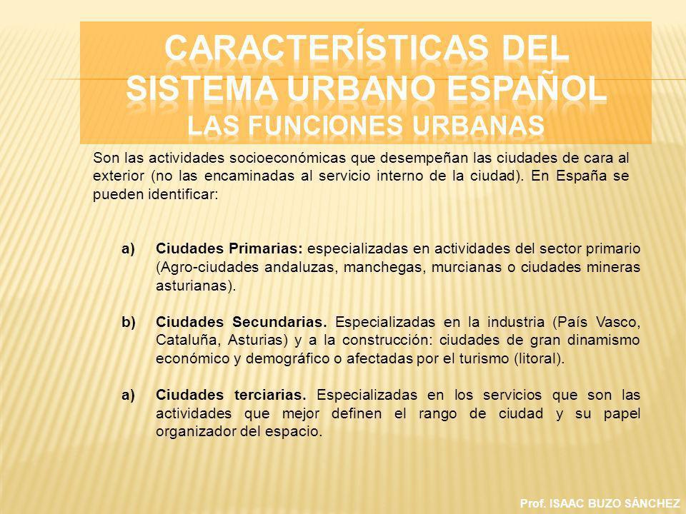 Prof. ISAAC BUZO SÁNCHEZ a)Ciudades Primarias: especializadas en actividades del sector primario (Agro-ciudades andaluzas, manchegas, murcianas o ciud