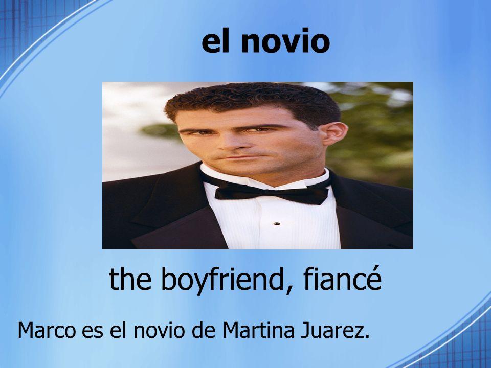 el novio the boyfriend, fiancé Marco es el novio de Martina Juarez.