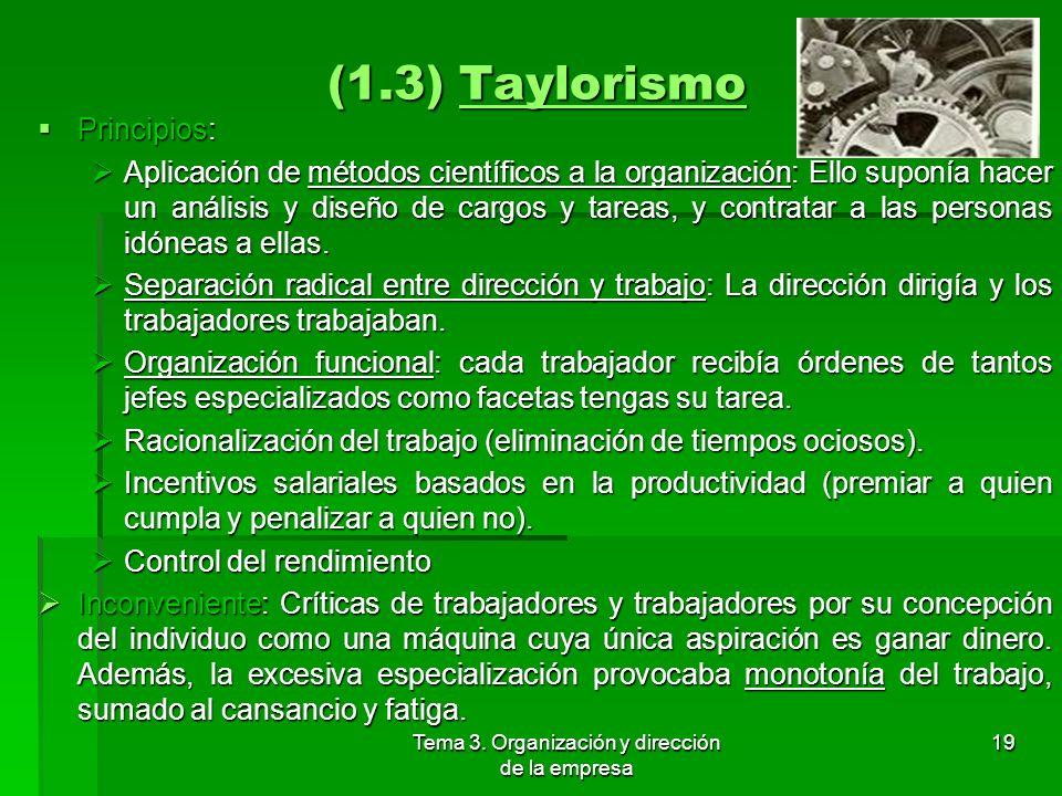 Tema 3. Organización y dirección de la empresa 18 (1.3) Taylorismo Frederick Winslow Taylor. Se refiere a la producción y dirección científica. Freder