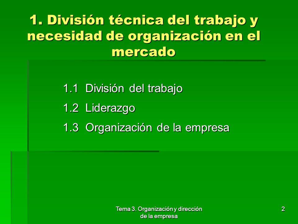 Tema 3. Organización y dirección de la empresa 1. La división técnica del trabajo y la necesidad de organización en el mercado 2. Funciones básicas de