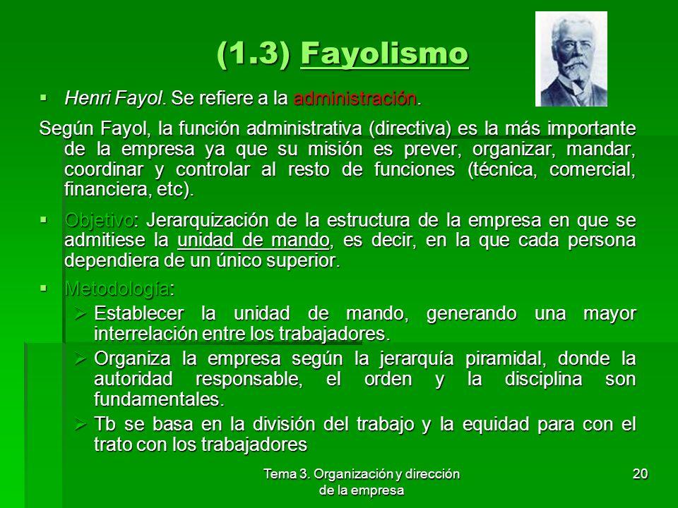 Tema 3. Organización y dirección de la empresa 19 (1.3) Taylorismo Principios: Principios: Aplicación de métodos científicos a la organización: Ello s
