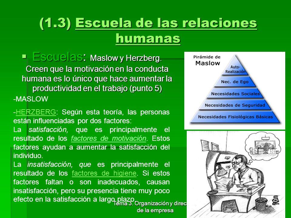 Tema 3. Organización y dirección de la empresa 22 (1.3) Escuela de las relaciones humanas Elton Mayo. Se basa en las personas. Western Electric Co. El