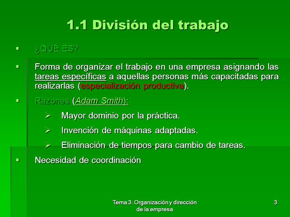 Tema 3. Organización y dirección de la empresa 2 1. División técnica del trabajo y necesidad de organización en el mercado 1.1 División del trabajo 1.