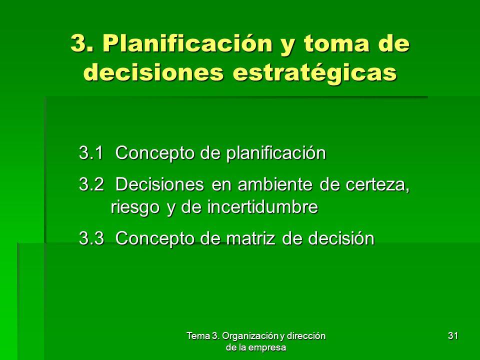 Tema 3. Organización y dirección de la empresa 30 2.5 Control Esta función consiste en comparar los resultados previstos con los reales, identificando