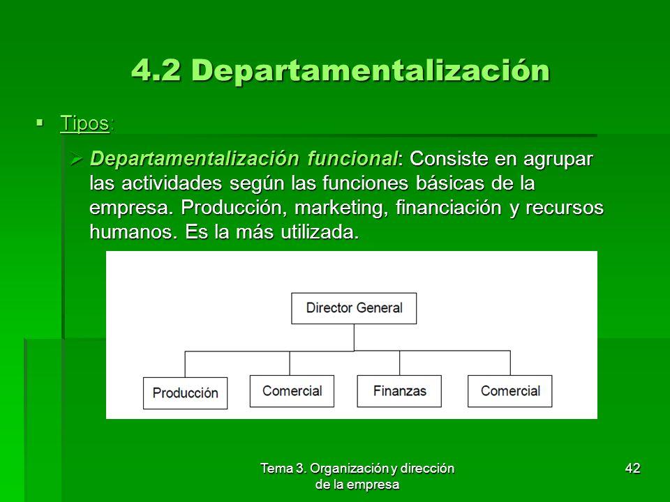 Tema 3. Organización y dirección de la empresa 41 4.2 Departamentalización Proceso de división y agrupamiento de puestos de trabajo (trabajadores y ac