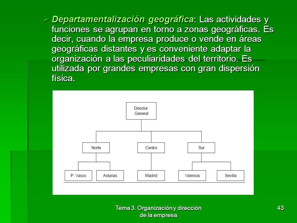 Tema 3. Organización y dirección de la empresa 42 4.2 Departamentalización Tipos: Tipos: Tipos Departamentalización funcional: Consiste en agrupar las