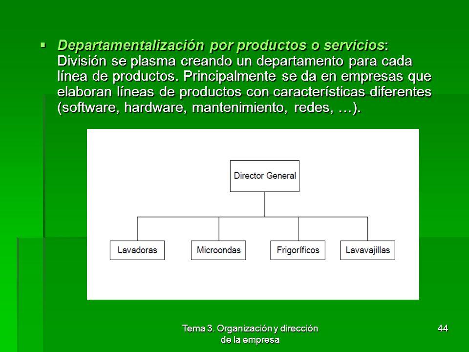 Tema 3. Organización y dirección de la empresa 43 Departamentalización geográfica: Las actividades y funciones se agrupan en torno a zonas geográficas