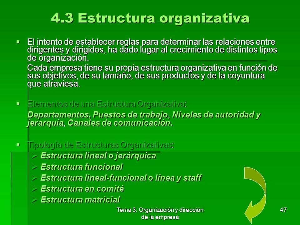 Tema 3. Organización y dirección de la empresa 46 Departamentalización por procesos: Las actividades se agrupan en torno a las etapas del proceso prod