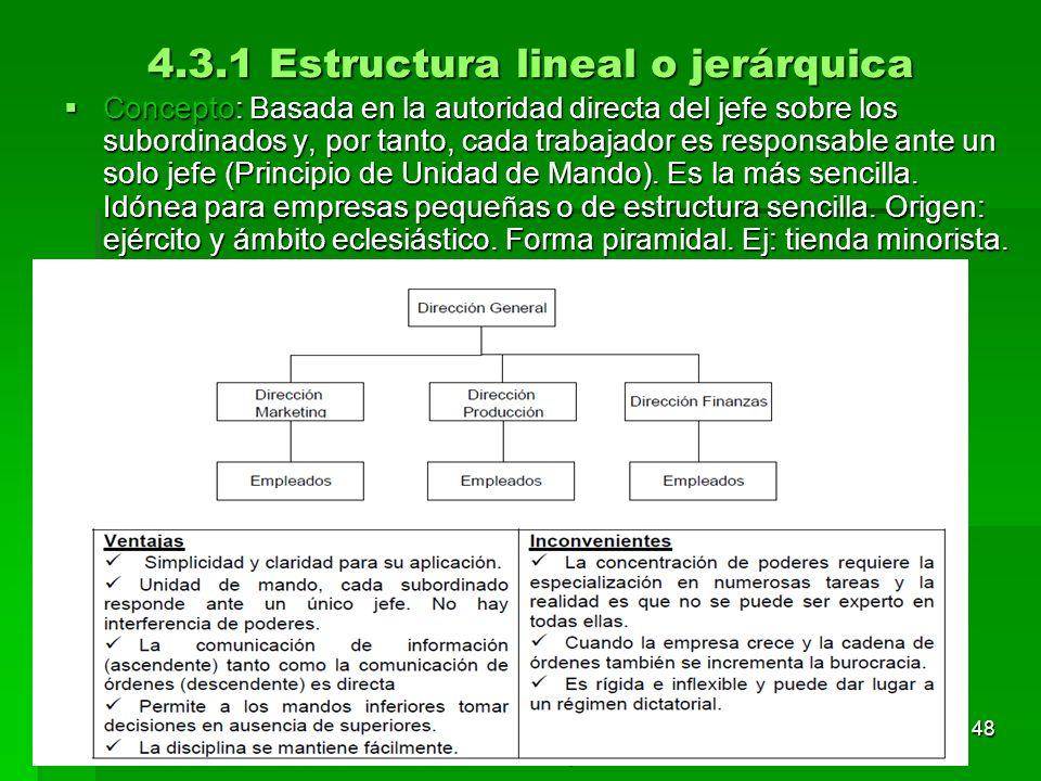 Tema 3. Organización y dirección de la empresa 47 4.3 Estructura organizativa El intento de establecer reglas para determinar las relaciones entre dir