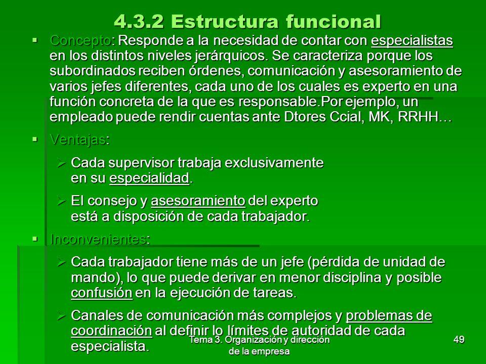 Tema 3. Organización y dirección de la empresa 48 4.3.1 Estructura lineal o jerárquica Concepto: Basada en la autoridad directa del jefe sobre los sub