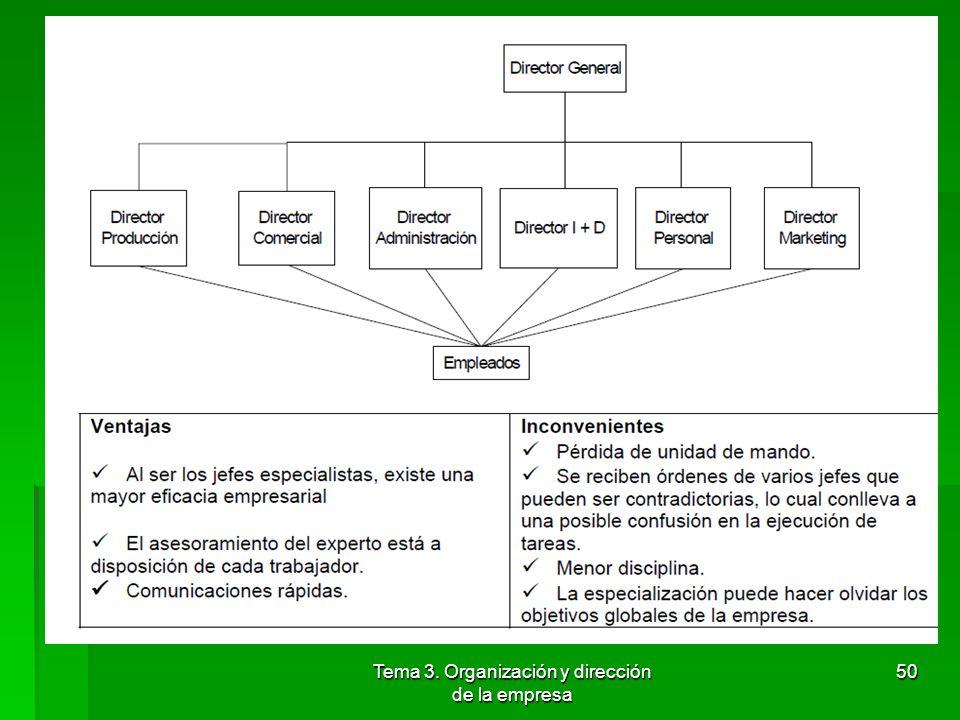Tema 3. Organización y dirección de la empresa 49 4.3.2 Estructura funcional Concepto: Responde a la necesidad de contar con especialistas en los dist