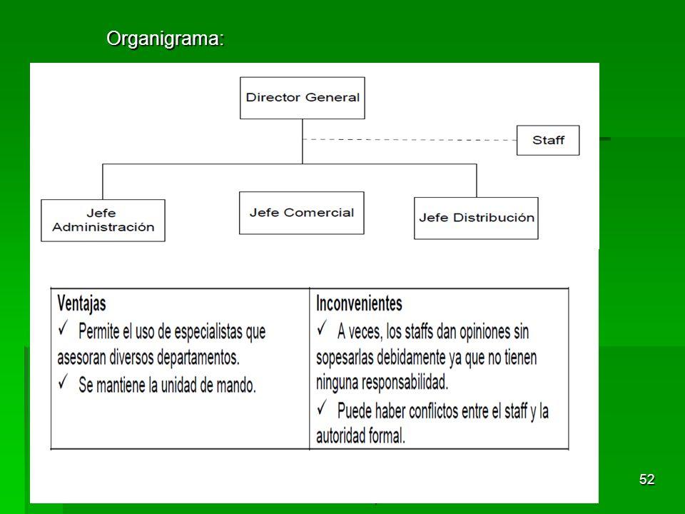 Tema 3. Organización y dirección de la empresa 51 4.3.3 Estructura Mixta o Lineal-funcional (lineal-staff) Concepto: Respuesta a los inconvenientes de