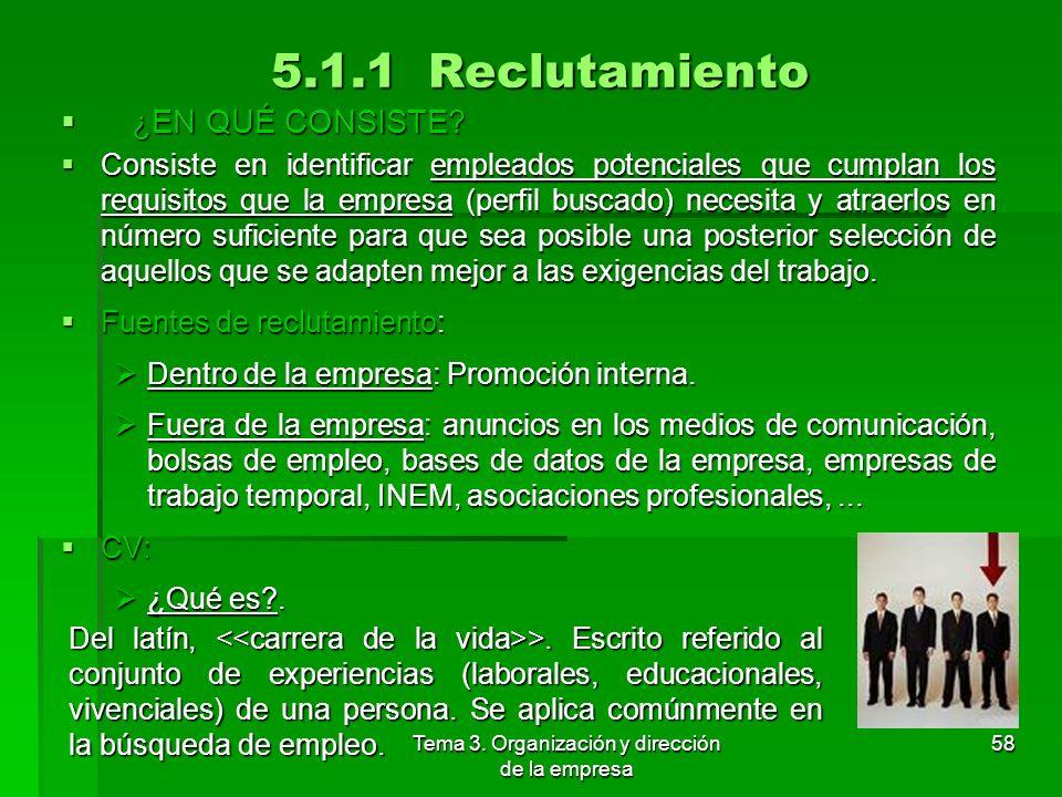 Tema 3. Organización y dirección de la empresa 57 5. La gestión de los recursos humanos: la motivación 5.1 Reclutamiento y selección de personal 5.2 E