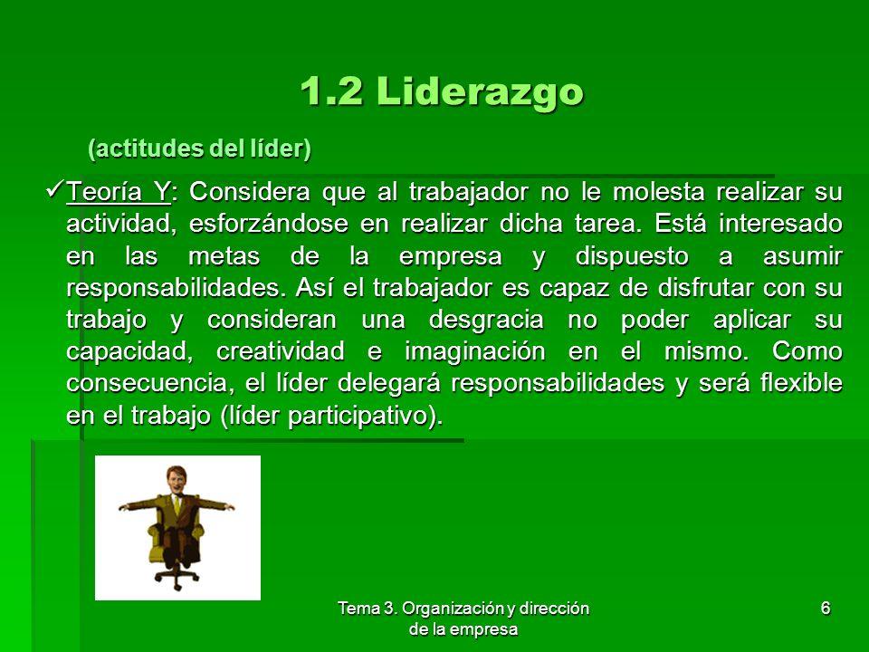 Tema 3. Organización y dirección de la empresa 5 1.2 Liderazgo Teorías : Teorías : Teorías universales: Teorías universales: Las actitudes del líder: