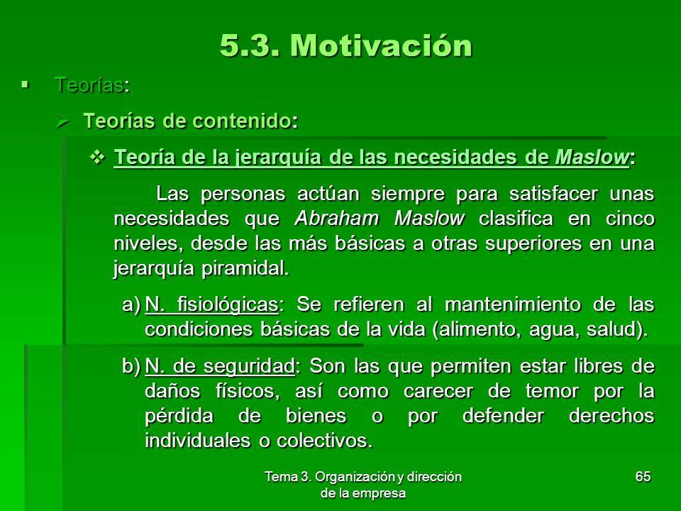 Tema 3. Organización y dirección de la empresa 64 5.3. Motivación Teorías: Teorías: Teorías de contenido: Intentan identificar qué impulsa a un indivi