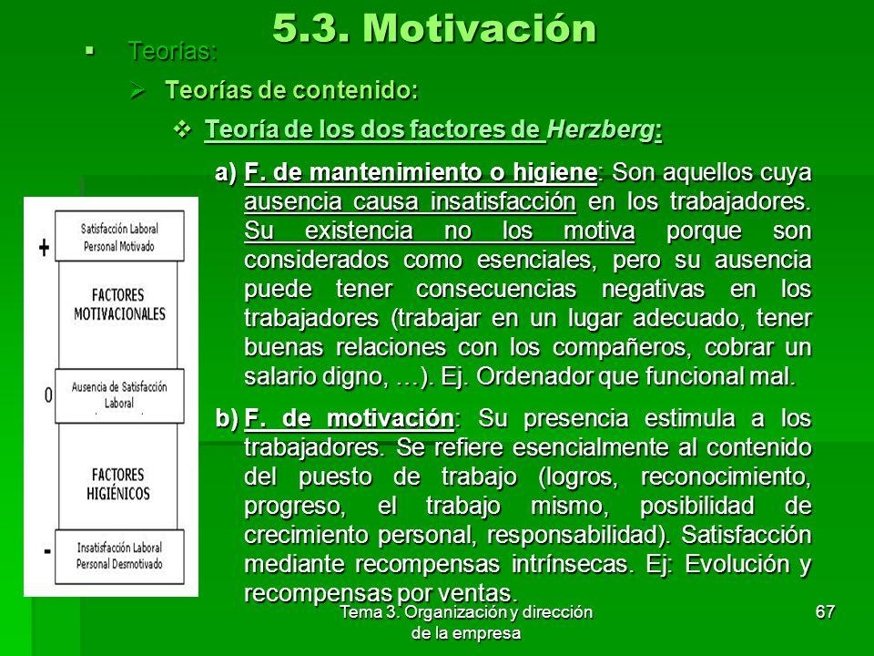 Tema 3. Organización y dirección de la empresa 66 5.3. Motivación c)N. sociales: Al ser las personas seres sociales necesitamos pertenecer a un grupo,