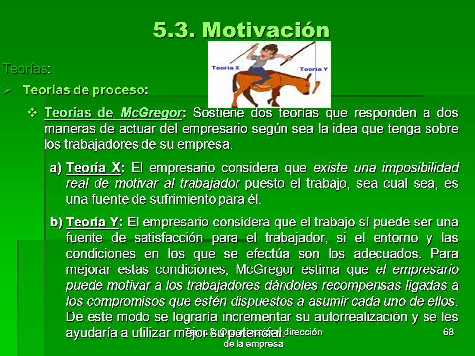 Tema 3. Organización y dirección de la empresa 67 5.3. Motivación Teorías: Teorías: Teorías de contenido: Teorías de contenido: Teoría de los dos fact
