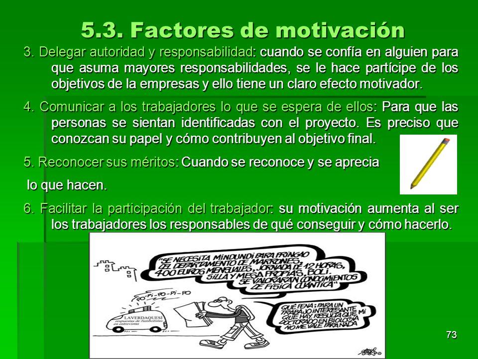 Tema 3. Organización y dirección de la empresa 72 5.3. Factores de motivación motivación 1. Enriquecimiento del puesto de trabajo: Cuanto más monótono