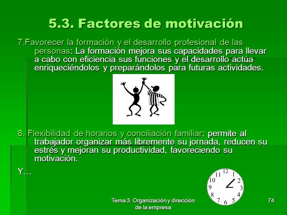 Tema 3. Organización y dirección de la empresa 73 5.3. Factores de motivación 3. Delegar autoridad y responsabilidad: cuando se confía en alguien para