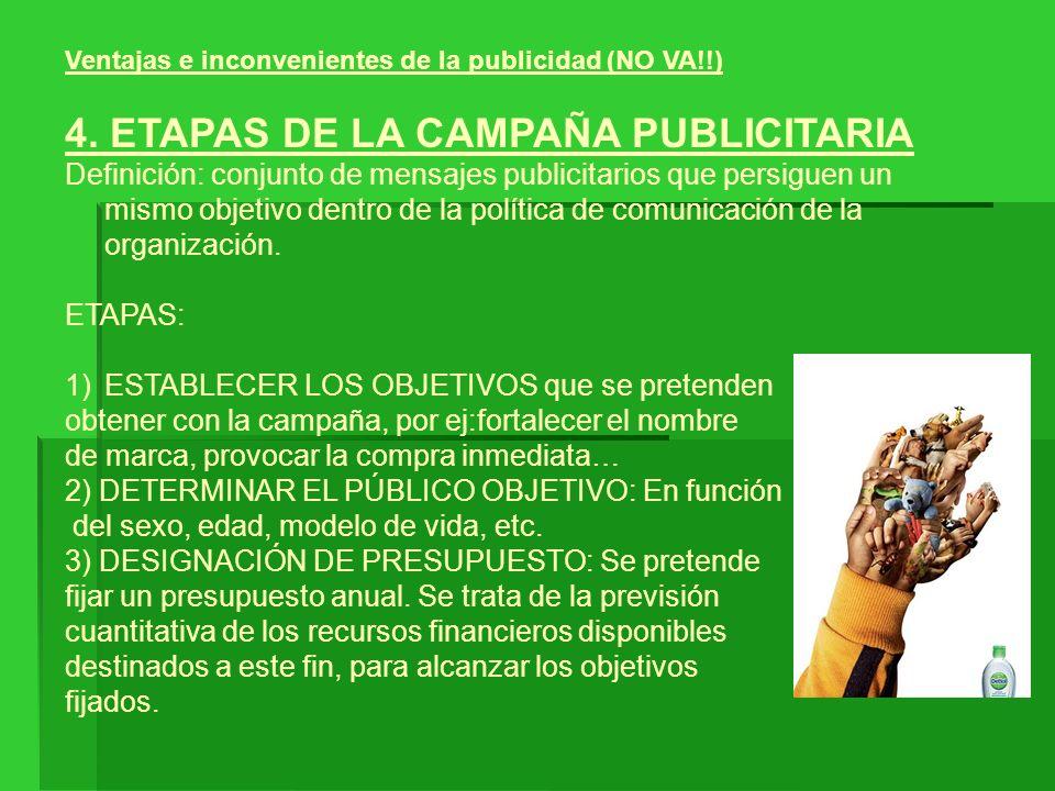 Ventajas e inconvenientes de la publicidad (NO VA!!) 4. ETAPAS DE LA CAMPAÑA PUBLICITARIA Definición: conjunto de mensajes publicitarios que persiguen