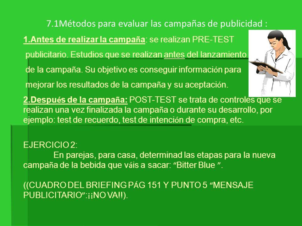 7.1Métodos para evaluar las campañas de publicidad : 1.Antes de realizar la campa ñ a: se realizan PRE-TEST publicitario. Estudios que se realizan ant