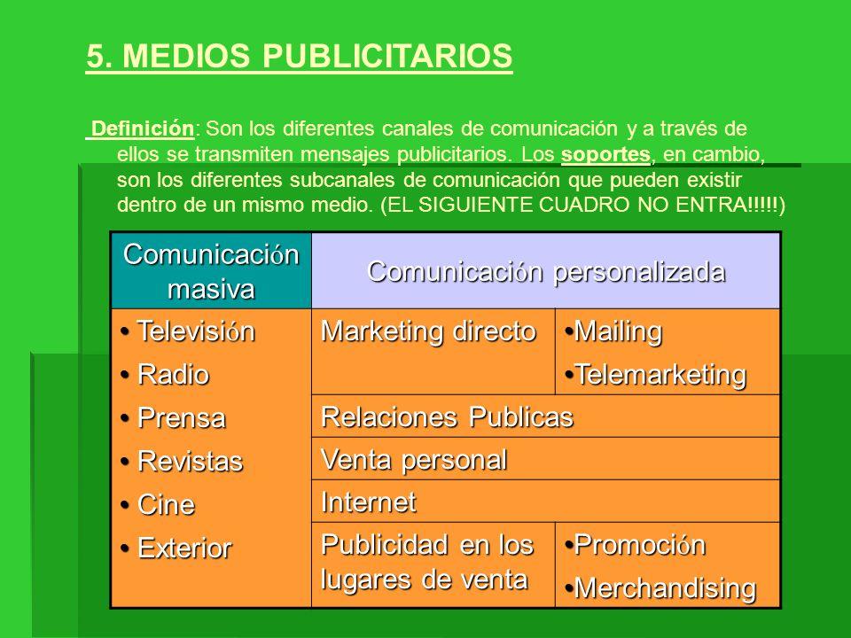 5. MEDIOS PUBLICITARIOS Definición: Son los diferentes canales de comunicación y a través de ellos se transmiten mensajes publicitarios. Los soportes,