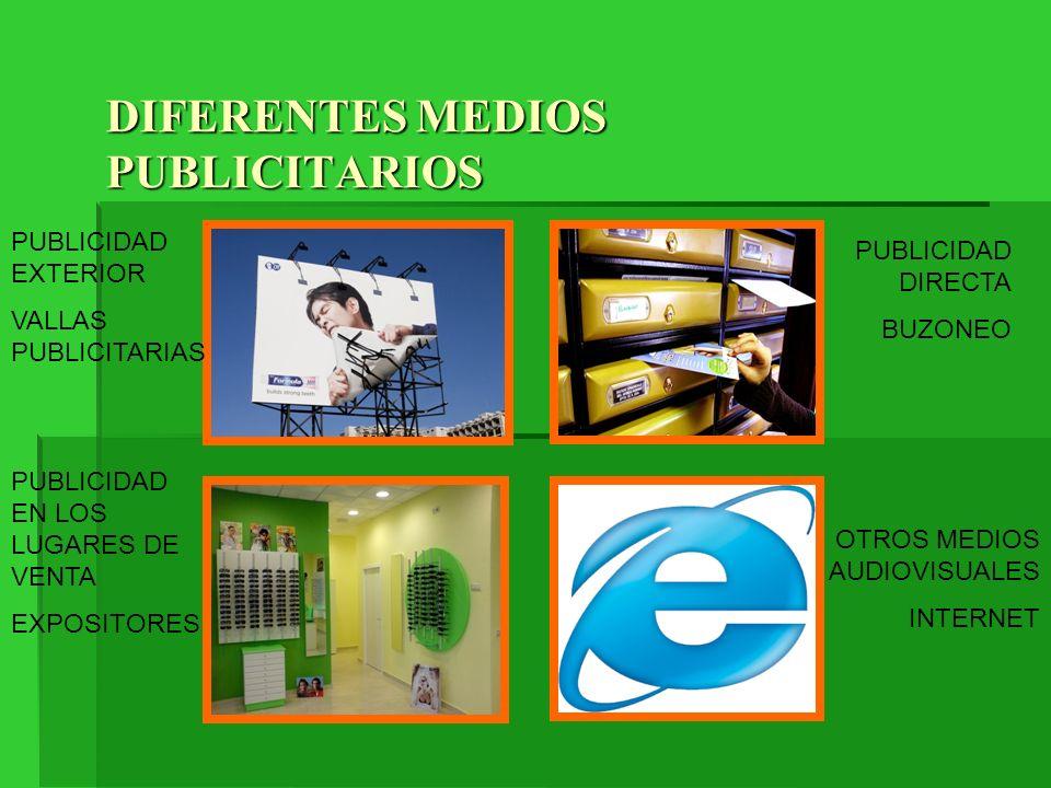 DIFERENTES MEDIOS PUBLICITARIOS PUBLICIDAD EXTERIOR VALLAS PUBLICITARIAS PUBLICIDAD DIRECTA BUZONEO PUBLICIDAD EN LOS LUGARES DE VENTA EXPOSITORES OTR